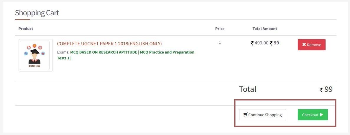 Net Exam Online Test Bag Checkout