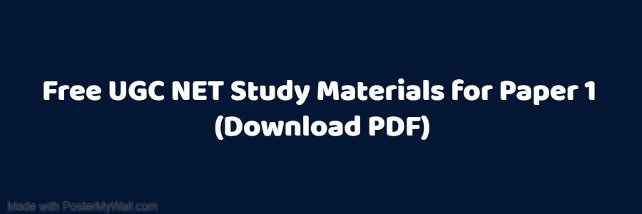 UGC NET Paper 1 study material PDF| Free Download